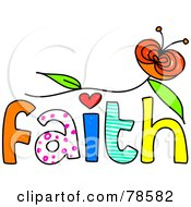 Royalty Free RF Clipart Illustration Of A Colorful Faith Word