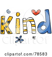 Royalty Free RF Clipart Illustration Of A Colorful Kind Word