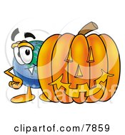 Clipart Picture Of A World Earth Globe Mascot Cartoon Character With A Carved Halloween Pumpkin by Toons4Biz