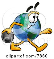 Clipart Picture Of A World Earth Globe Mascot Cartoon Character Holding A Bowling Ball by Toons4Biz