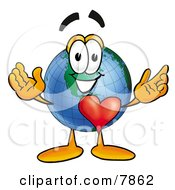 Clipart Picture Of A World Earth Globe Mascot Cartoon Character With His Heart Beating Out Of His Chest by Toons4Biz