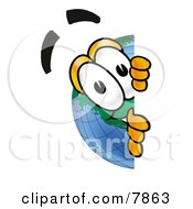 Clipart Picture Of A World Earth Globe Mascot Cartoon Character Peeking Around A Corner by Toons4Biz