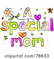 Royalty Free RF Clipart Illustration Of Colorful Letters Spelling A Special Mom by Prawny