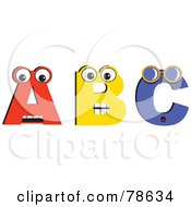 Royalty Free RF Clipart Illustration Of A B And C With Eyes