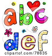 Royalty Free RF Clipart Illustration Of Colorful Letters A B C D E F