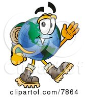 Clipart Picture Of A World Earth Globe Mascot Cartoon Character Hiking And Carrying A Backpack by Toons4Biz