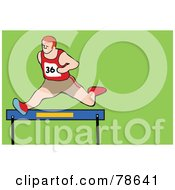 Royalty Free RF Clipart Illustration Of A Track Runner Leaping Over A Hurdle