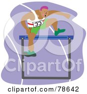 Royalty Free RF Clipart Illustration Of A Man Leaping A Hurdle On A Purple Track
