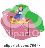Royalty Free RF Clipart Illustration Of A Man Leaping A Hurdle On A Pink Track