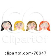 Royalty Free RF Clipart Illustration Of A Digital Collage Of Black Haired Blond Brunette And Redhead Women