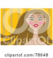 Royalty Free RF Clipart Illustration Of A Pretty Brunette Woman Over Orange