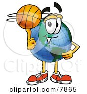 Clipart Picture Of A World Earth Globe Mascot Cartoon Character Spinning A Basketball On His Finger by Toons4Biz