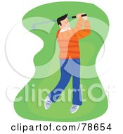 Royalty Free RF Clipart Illustration Of A Single Male Golfer Swinging On The Green by Prawny