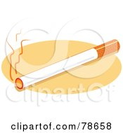 Royalty Free RF Clipart Illustration Of A Burning Cigarette On A Beige Oval by Prawny