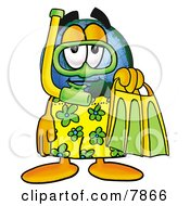 World Earth Globe Mascot Cartoon Character In Green And Yellow Snorkel Gear