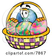 Clipart Picture Of A World Earth Globe Mascot Cartoon Character In An Easter Basket Full Of Decorated Easter Eggs