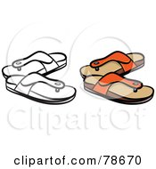 Royalty Free RF Clipart Illustration Of A Digital Collage Of Orange Sandals With A Black Outline by Prawny