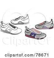 Royalty Free RF Clipart Illustration Of A Digital Collage Of Gray Trainer Shoes With A Black Outline by Prawny