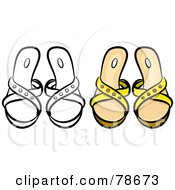 Royalty Free RF Clipart Illustration Of A Digital Collage Of Yellow Sandals With A Black Outline by Prawny
