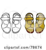 Royalty Free RF Clipart Illustration Of A Digital Collage Of Mens Sandals With A Black Outline by Prawny