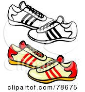 Royalty Free RF Clipart Illustration Of A Digital Collage Of Mens Trainers Shoes With A Black Outline by Prawny