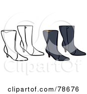 Royalty Free RF Clipart Illustration Of A Digital Collage Of Black Boots With A Black Outline by Prawny