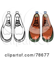 Royalty Free RF Clipart Illustration Of A Digital Collage Of Mens Leather Boots With A Black Outline by Prawny