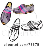 Royalty Free RF Clipart Illustration Of A Digital Collage Of Purple Ladies Shoes With A Black Outline by Prawny