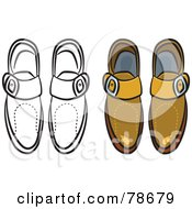 Royalty Free RF Clipart Illustration Of A Digital Collage Of Mens Leather Shoes With A Black Outline by Prawny