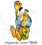 Clipart Picture Of A World Earth Globe Mascot Cartoon Character Plugging His Nose While Jumping Into Water