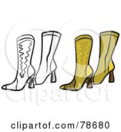 Royalty Free RF Clipart Illustration Of A Digital Collage Of Brown Leather Boots With A Black Outline by Prawny