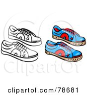 Royalty Free RF Clipart Illustration Of A Digital Collage Of Blue Mens Shoes With A Black Outline by Prawny
