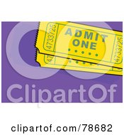 Royalty Free RF Clipart Illustration Of Two Yellow Admit One Ticket Stubs On Purple by Prawny