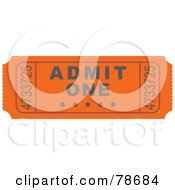 Royalty Free RF Clipart Illustration Of A Single Orange Admit One Ticket Stub by Prawny