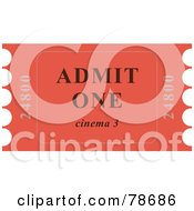 Royalty Free RF Clipart Illustration Of A Single Red Admit One Ticket Stub by Prawny
