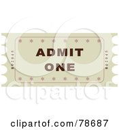 Royalty Free RF Clipart Illustration Of A Single Beige Admit One Ticket Stub by Prawny
