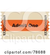 Royalty Free RF Clipart Illustration Of A Single Admit One Ticket Stub by Prawny