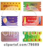Royalty Free RF Clipart Illustration Of A Digital Collage Of Party Tickets by Prawny