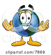 Poster, Art Print Of World Earth Globe Mascot Cartoon Character With Welcoming Open Arms