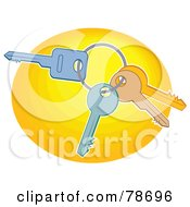 Royalty Free RF Clipart Illustration Of A Ring Of Three Keys On A Yellow Oval by Prawny