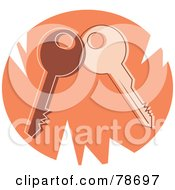 Royalty Free RF Clipart Illustration Of Two Keys On A Jagged Orange Circle by Prawny