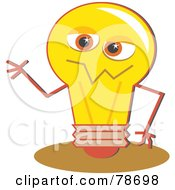 Royalty Free RF Clipart Illustration Of A Yellow Electric Light Bulb Character Waving by Prawny