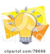Royalty Free RF Clipart Illustration Of A Shining Orange Electric Light Bulb