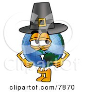 Clipart Picture Of A World Earth Globe Mascot Cartoon Character Wearing A Pilgrim Hat On Thanksgiving by Toons4Biz