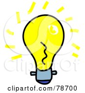 Royalty Free RF Clipart Illustration Of A Bright Yellow Light Bulb With Rays by Prawny