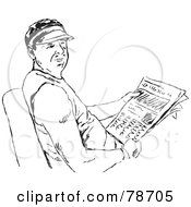 Royalty Free RF Clipart Illustration Of A Black And White Man Reading The Newspaper by Prawny