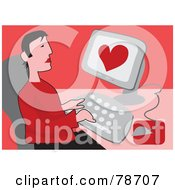 Royalty Free RF Clipart Illustration Of A Lonely Man Using An Internet Dating Site On A Computer Over Red by Prawny