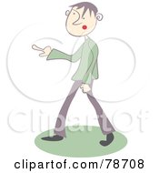 Royalty Free RF Clipart Illustration Of A Grouchy Guy Pointing His Finger Left