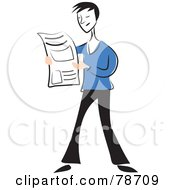 Royalty Free RF Clipart Illustration Of A Line Man Reading The Newspaper by Prawny