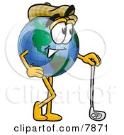 Clipart Picture Of A World Earth Globe Mascot Cartoon Character Leaning On A Golf Club While Golfing by Toons4Biz